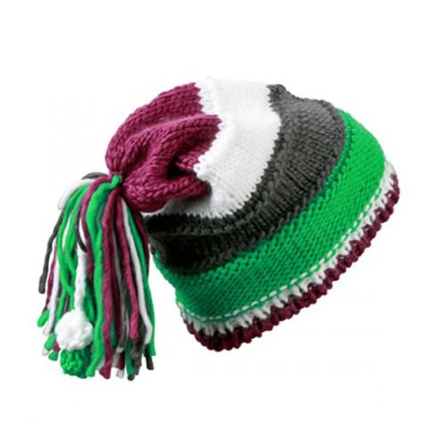 Beanie groen, paars en wit