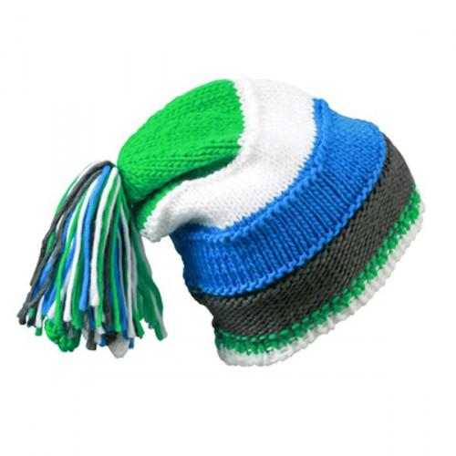 Beanie muts blauw, groen en wit