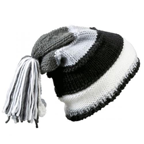 Beanie zwart, grijs en wit