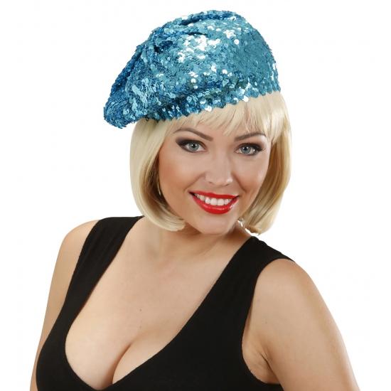Blauwe glitter muts voor dames