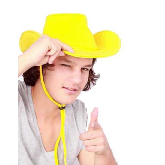 Gele western hoed