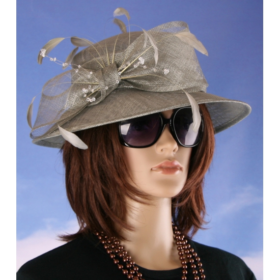 Grote luxe hoed grijs Alexia