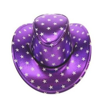 Paarse hoed met zilveren sterren