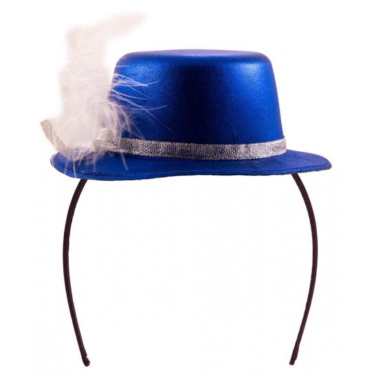 Tiara hoedje blauw met wit