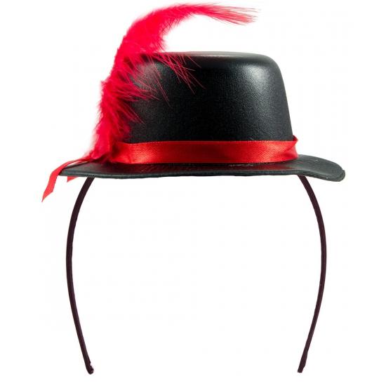 Tiara hoedje zwart met rood