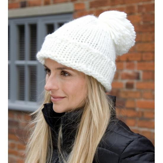 Witte winter muts voor dames