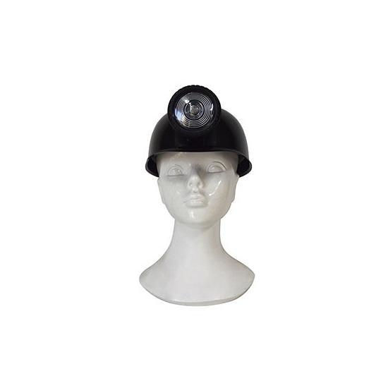Zwarte plastic mijnwerker helm