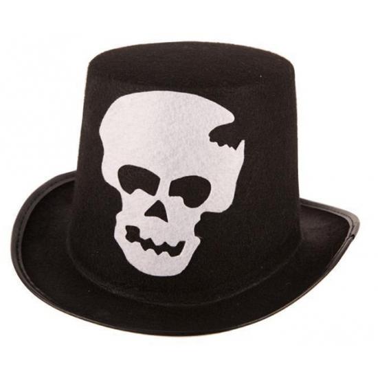 Zwarte stoffen hoed met schedel