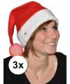 3x kerstmuts met lichtgevend bolletje