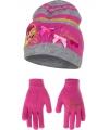 Muts en handschoenen prinses roze