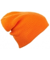 Oranje gebreide beanie muts