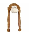Pluche apen muts met flapjes 18 cm