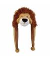 Pluche leeuwen muts met flapjes 18 cm