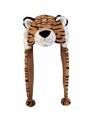 Pluche tijger muts met flapjes 18 cm