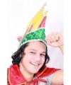 Prins carnaval muts rood geel groen voor volwassenen