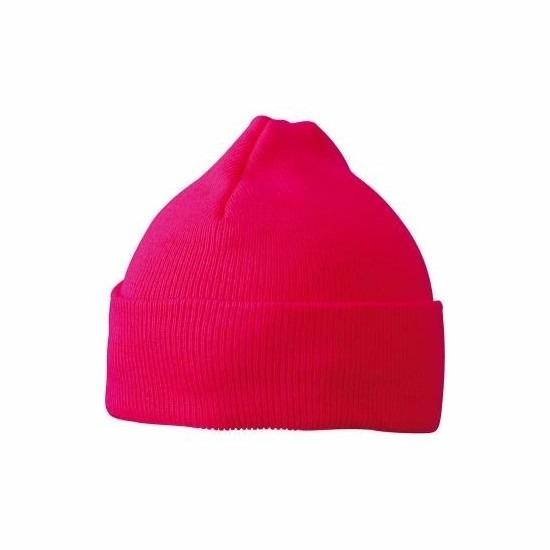 Basic winter muts roze voor jongens