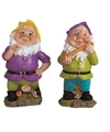 2x tuinkabouters 25 cm gele paarse mutsjes