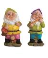 2x tuinkabouters 25 cm groene paarse mutsjes