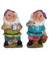 2x tuinkabouters 25 cm paarse mutsen