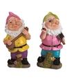 2x tuinkabouters 25 cm roze groene muts