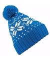 Gebreide blauwe nordic print muts met pompon voor jongens