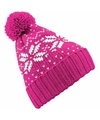Gebreide roze nordic print muts met pompon voor meisjes