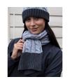 Grijze sjaal en muts grof gebreid voor dames