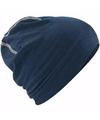 Katoenen sport beanie navy blauw voor volwassenen