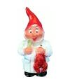 Tuinkabouter rode muts kok met kreeft 30 cm